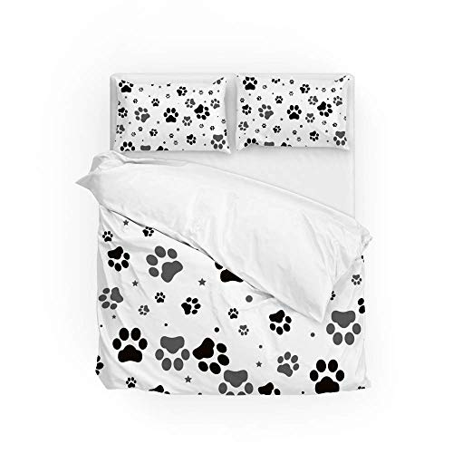 Soft Quilt Bedding Set Paw Print Duvet Cover with Pillowcases 2 Pieces Set 135 x 200 CM,Single Size
