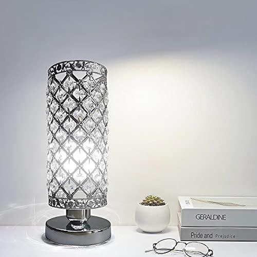 Lampada da Tavolo in Cristallo, Argento E27 Base Lampada da Tavolo Decorativa, Lampada da Notte, Lampade da Tavolo per Camera da Letto, Soggiorno, Cucina, Sala da Pranzo