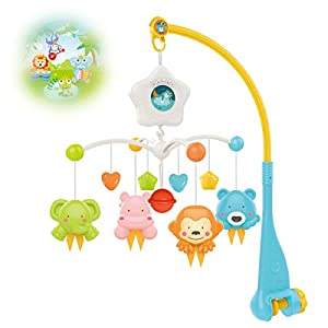 Baby Crib Mobile with Projrctor and Relaxing Music, Hanging Rotating Animals Rattles Nursery Gift Toy for Newborn 0-24 Months Boys and Girls Sleep(Blue)