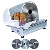 M4Y Meat Slicer | Large 22cm Diameter Electric Food Deli Cheese Bread Specialist Cutting Machine | Includes 3 X Interchangeable 22cm Stainless Steel Blades