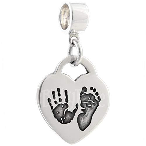BabyRice Charm en forme de cœur avec empreintes de pieds et de mains de bébé avec connecteur &Charm Bracelet