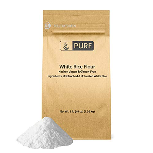 White Rice Flour (3 lb.) by Pure, Gluten-Free, Fat-Free, Sodium-Free, Unbleached & Untreated, Vegan