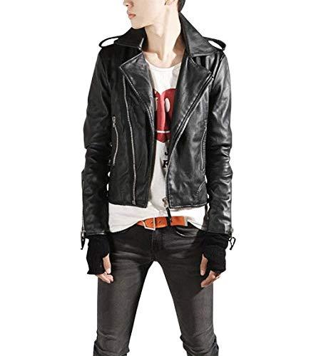Lannister Fashion Herren Pu Lederjacke Bikerjacke Freizeitjacke Slim Motorradjacke Fit Kunstlederjacke Bekleidung Outerwear Mantel (Color : Schwarz, Size : L)