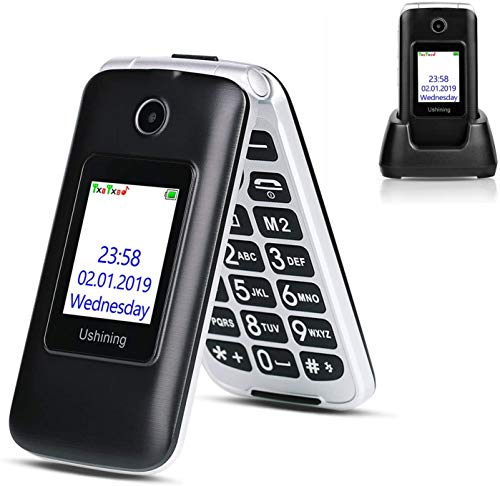 Ushining 3G Unlocked Flip Cell Phone for Senior & Kids, Easy-to-Use Big Button Cell Phone with Charging Dock, A&T or T-Mobile Card Suitable (Black)
