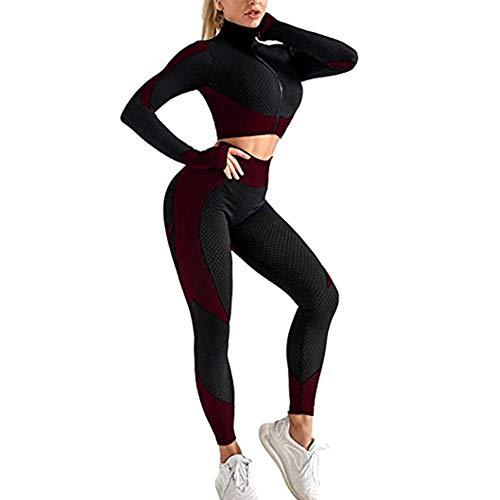 Berrywho Damen Sportwear Sets Yoga Sets weiche Bequeme Schnell trocknend Laufen Jogging Gymnastik-Training Sweatsuit 3 teiliges Set Sport-BH, Top und Leggings (Fuchsia, M)