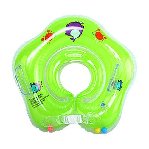 FIONAT Natación Bebé Cuello Anillo Tubo Seguridad Infantil Flotador Círculo para bañarse Inflable Bebé Nadar Anillo Agua Accesorios para bebés-Verde