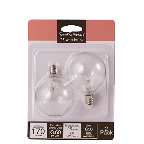 25w Wax Warmer Bulbs, 25 Watt Light Bulb Candelabra E12 Base Clear - Replacement for any Full Size Wax Warmer. Certified Scentsational Style G50 120Volt (25 Watt)