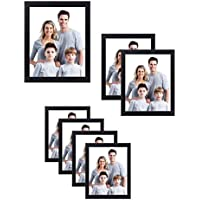 Nuvita 7 Piece Black Photo Frame Wall Gallery Kit with Decorative Art Prints & Hanging Template