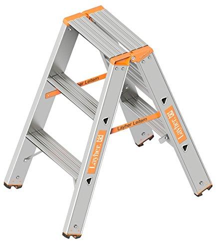 Layher 1043003 Stufenstehleiter Topic 3 Aluminiumleiter 2x3 Stufen 80 mm breit, beidseitig begehbar, klappbar, Länge 0.75 m