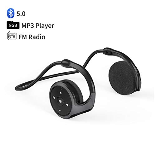 Wearable MP3 Player 8GB, Neckband Bluetooth 5.0 Headset with FM Radio, Sweat-Proof Sports Wrap Around Earphone, Mini HiFi Music Player, Foldable Headphones with Mic & Hooks Over-Ear, 12H Playtime