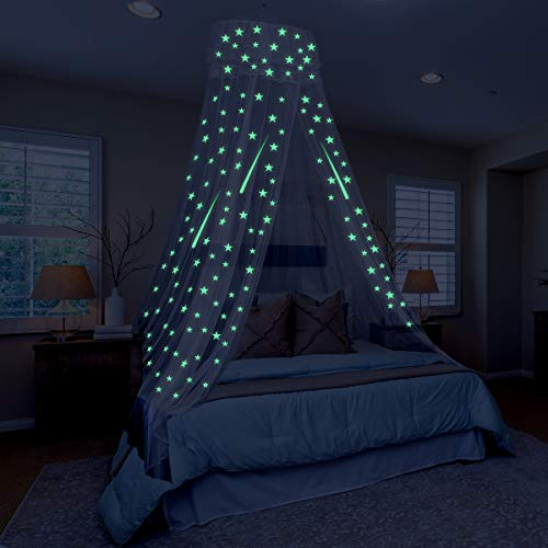 Toyvian Bed Canopy Glow in The Dark, hängendes großes Bettzelt Canopy für Kinder Schlafzimmerzelt mit Sternenlichtern Ideales Schlafzimmer Moskitonetz