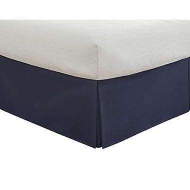 Fresh Ideas Tailored Poplin Bedskirt 14-Inch Drop Queen, Navy