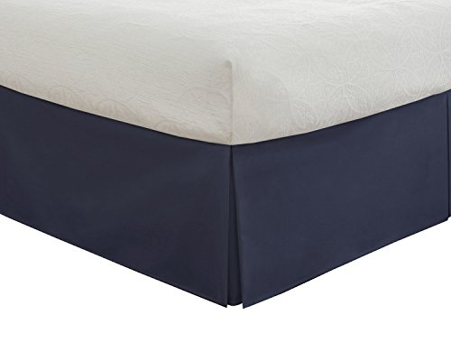 "Fresh Ideas Classic 14"" Drop Length, Pleated Styling Bedding Tailored Bedskirt, Queen, Navy"