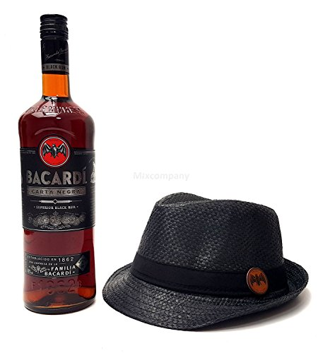 Bacardi Carta Negra Rum 0,7l 700ml (40% Vol) + Strohhut schwarz