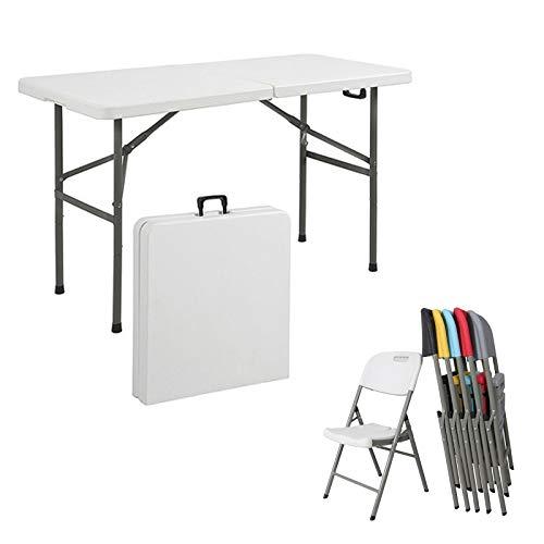 HXGL-Drum Mesa Plegable de plástico Blanco con Silla Mesa Multiusos Mesa Plegable Plegable por la Mitad Picnic portátil Camping Cena para la Oficina en casa
