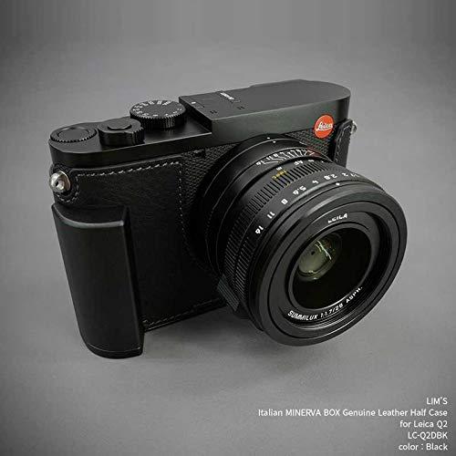 【日本正規販売店】 LIM'S Italian MINERVA BOX Genuine Leather Half Case for Leica Q2 LC-Q2DBK Black ライカ Q2用 イタリアンレザー カメラケース メタルグリップ メタルプレート 高級 本革 バッテリー交換可能 おしゃれ かっこいい リムズ