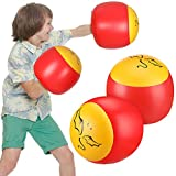 Skylety 2 Pairs Inflatable Boxing Pillows Inflatable Boxing Gloves, Red and Yellow