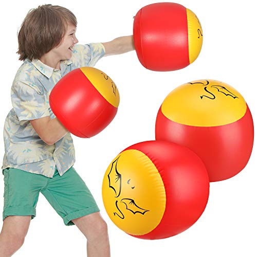 Skylety 2 Pairs Inflatable Boxing Pillows, Inflatable Boxing Gloves, Red and Yellow (Kids Size, Bat Wings)