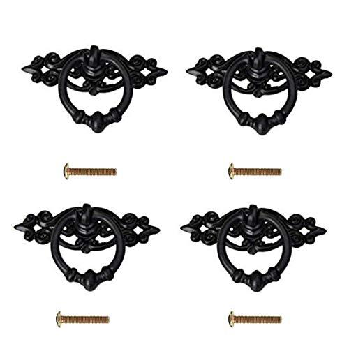 Juego de 4 tiradores antiguos para puerta de armario, color negro