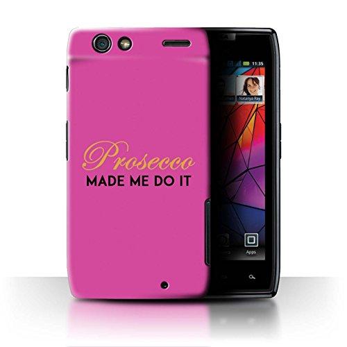 Stuff4 Var voor Prosecco Fashion MOTO-CC Motorola RAZR Maxx Gemaakt me doen het/roze