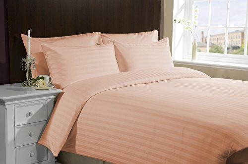 SRP Linen Egyptian Cotton 300-Thread-Count Super Soft 3PCs Button Closure Designer Duvet Cover Set Euro King IKEA Striped Peach With Wholesale Price