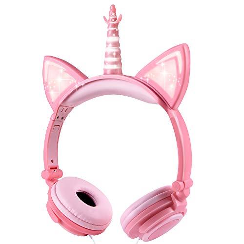 Sunvito, Kopfhörer für Kinder, Einhorn-Design, mit Katzenohren, LED, für Kinder kabelgebunden, 85dB-Volume Rosa-Pesca