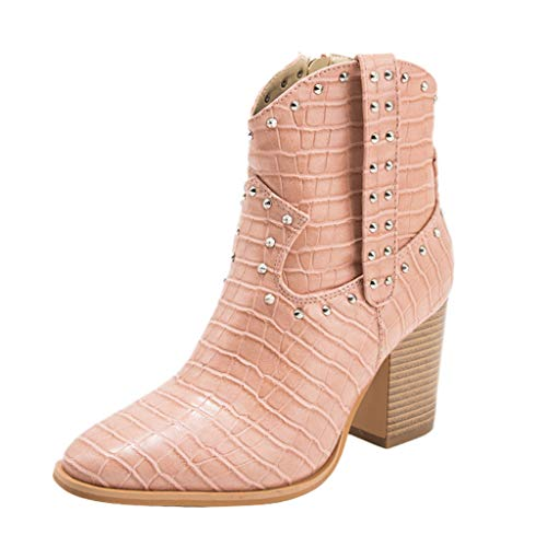 HebeTop Womens Cowgirl Ankle Boot Western Miami Cowboy Boots Wedge Heel Cowgirls Booties Mid Calf Combat Pointed Toe Shoes Beige