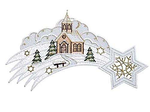 Raebel Plauener Stickerei Fensterbild Spitze Weihnachten Spitzenbild Deko Sternschnuppe + Saugnapf