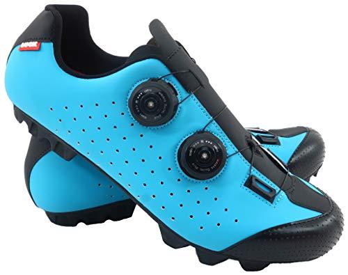 LUCK Zapatilla de Ciclismo MTB Eros con Doble Cierre rotativo de Alta precisión. (45 EU, Azul)
