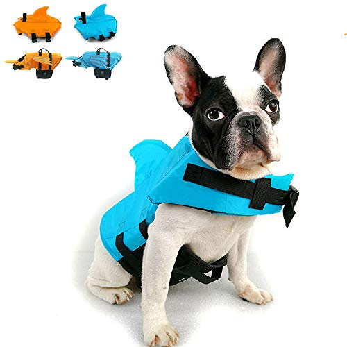 Snik-S Dog Life Jacket- Preserver with Adjustable Belt, Pet Swimming Shark Jacket for Short Nose Dog,Upgrade Version (Pug,Bulldog,Poodle,Bull Terrier) (S, Blue)