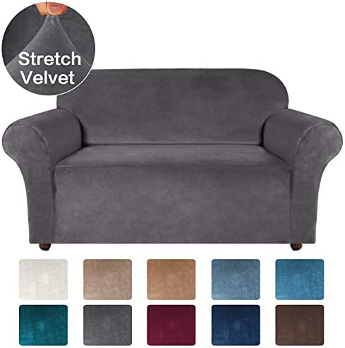 Best Turquoize Thick Velvet Stretch Couch Covers for 2 Cushion Couch Loveseat Covers for Living Room Sofa
