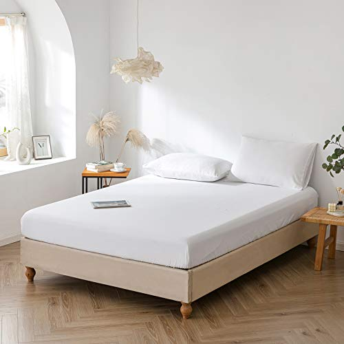 Good Nite Fitted Bed Sheets 25cm Deep 100% Polyester Cotton Blend Soft and Comfortable Sheets MachineWashable Breathable Fabric (white, Double)