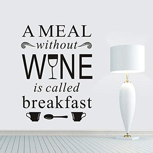 Waterdichte muursticker met een maaltijd zonder wijn is ontbijt (niet in het Nederlands beschikbaar)