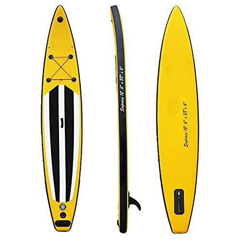 Tabla De Stand Up Paddle Surf Inflable para Jóvenes Y Adultos 12.6 '* 28'* 6' Sup Cubierta Antideslizante, Aleta Inferior para Remar Y Controlar El Surf, Correa, Paleta Y Bomba De Mano