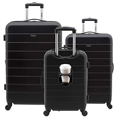 Wrangler 3 Piece Luggage Set Smart Hardside with USB Charging Port, Black