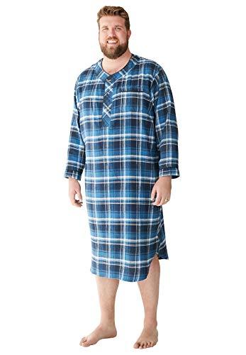 KingSize Men's Big & Tall Plaid Flannel Nightshirt - Big - 3XL/4X, Twilight Plaid Pajamas