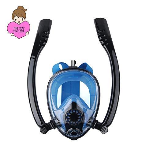 zxcvb Máscara de Esnórquel Profesional Gafas de Doble Tubo Máscara Antiniebla de Buceo Snorkeling Seco Completo Niños Adultos