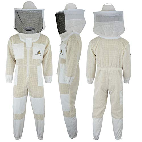 SRV- 3X Layer Ultra Ventilated Safety Protective Unisex White Fabric Mesh Beekeeping Suit Beekeeper Suit Outfit Round Veil (3XL)
