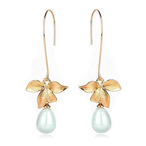 Erin Damen-Ohrringe, Orchidee, Blume, Salbei, grüne Perlen, Haken-Ohrringe, Brautschmuck, Geschenk
