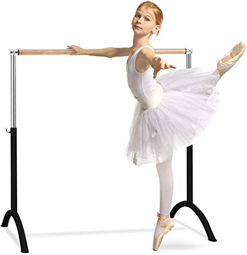 Klarfit Barre Lerina Ballet bar, 43 x 44 inches, Portable, Free Standing, Lightweight, Perfect for Dance and Fitness Training at Home and Studio: 1.5 inch Ø, Height Adjustable, Steel, Black