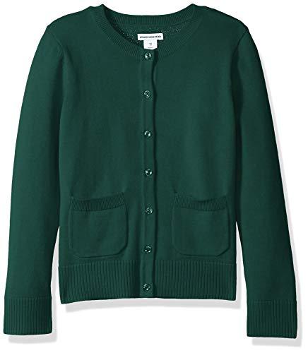 Amazon Essentials Big Girls' Uniform Cardigan Sweater, Botanical Garden, L