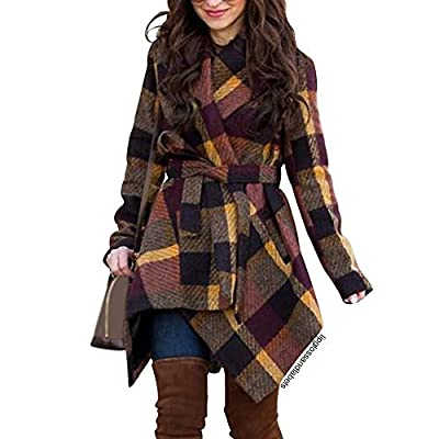Chicwish Women's Turn Down Shawl Collar Open Front Long Sleeve Plum Check Asymmetric Hemline Wool Blend Coat by