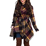 CHICWISH Women's Turn Down Shawl Collar Open Front Long Sleeve Plum Check Asymmetric Hemline Wool Blend Coat