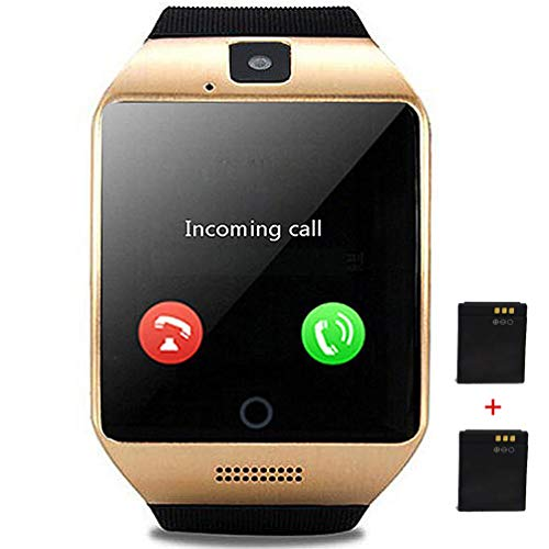 Smartwatch Unlocked Watch Cell Phone All in 1 Bluetooth Smart Watch with Camera Handsfree Call for Samsung LG HTC Motorola Huawei ASUS Android Smartphones Men Women Boys Girls Birthday Gift (Gold)