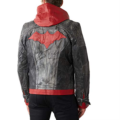 Men's Red Hood Leather Jacket (X-Large),Grey, Red