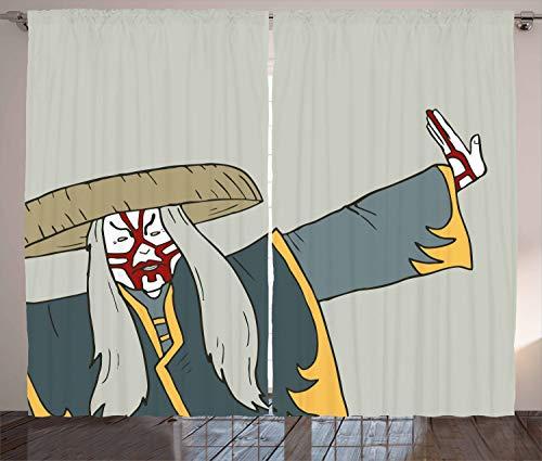 ABAKUHAUS Kabuki Rustikaler Gardine, Alte japanische Person, Schlafzimmer Kräuselband Vorhang mit Schlaufen und Haken, 280 x 245 cm, Mehrfarbig