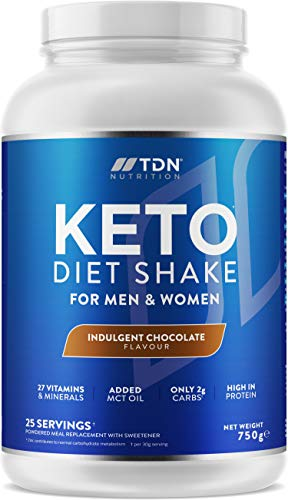 Keto Diet Shake - High Protein Shake with Added MCT Oil Powder - Plus 27 Vitamins and Minerals - Large 750g Tub - UK Made - Vegetarian Friendly (Indulgent Chocolate)