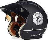 Egrus Motorrad Jet-Helm Halber Helm Brain-Cap Helm,ECE Zertifiziert Retro Motorrad-Helm Open Face Helm Roller-Helm Scooter-Helm Mofa-Helm Motorrad Half Helm Schutzhelm mit Brille Visier L=56~57cm