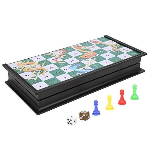 Vbest life Serpientes y escaleras magnéticas Serpientes y escaleras magnéticas de plástico Tablero Plegable Puzzle Juego de Mesa de Juguete para niños