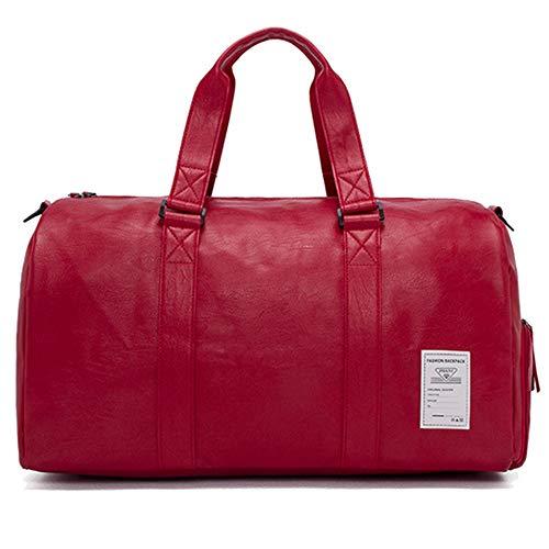 MERRYHE Sacs De Sport Unisexe Sports Gym Holdall Week-End Bagages Camping Voyage Sac Extérieur Top-Handle Bags avec Compartiment à Chaussures,Red-S(45 * 25 * 23CM)